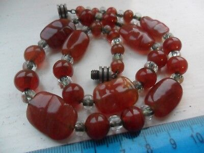 Vintage art deco uranium glass beads necklace French stamped made in France