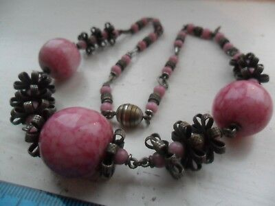 Vintage art deco pink heavy glass beads necklace French stamped made in France
