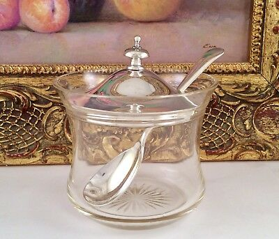 UNUSED Silver Plated & Cut Glass Preserve Pot & Spoon Charles T Burrows C1905.