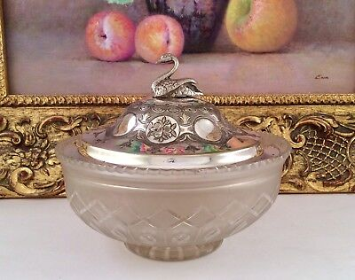 Rare Antique Victorian Silver Plated & Cut Glass Lidded Caviar/Olive Dish C1870