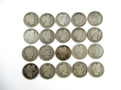 20 Barber Silver 25¢ Quarters Dates Range 1892-1908 Average Circulated Coins