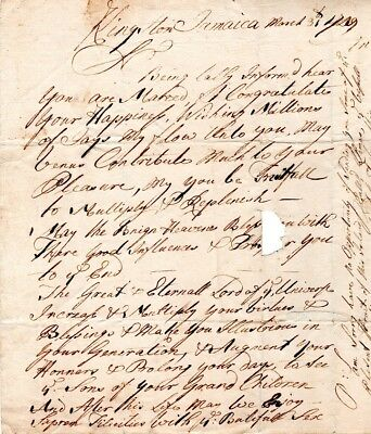 1729, William Snow, merchant, letter  Andrew Pepperell, Kittery, Maine, married
