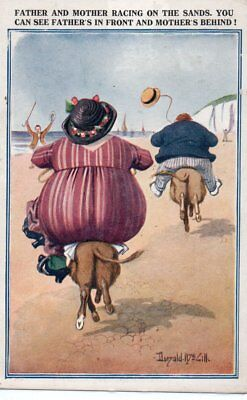 Mother & Father Racing on the Sands; A/S McGill Comic Vintage Postcard