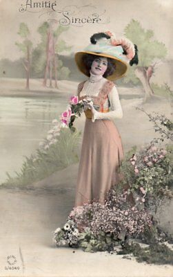 Pretty Lady by pond with plumes on pretty hat, Photo Vintage Postcard