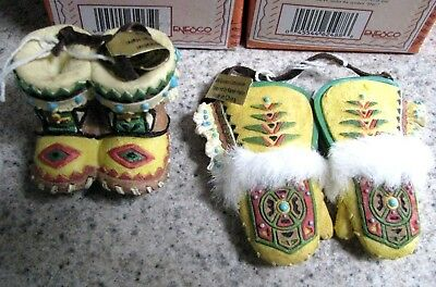 Enesco Friends of the Feather Mitten with fur + Son Moccasins hanging ornaments