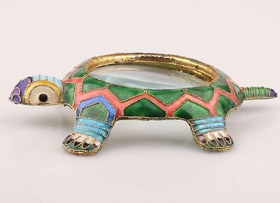 Vintage Chinese Cloisonne Statue Magnifying Glass Old Handmade Animal Turtle
