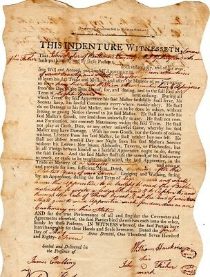1787, Baltimore, Maryland, Apprenticeship indenture, tailor, John Moale signed