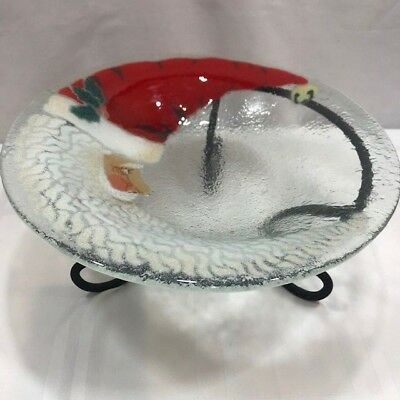 Peggy Karr fused glass bowl Santa Claus crescent AND wrought iron metal stand