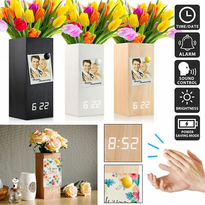 New Wood Alarm Clock Modern Digital Wooden LED Desk Clock with Flower Plant Vase