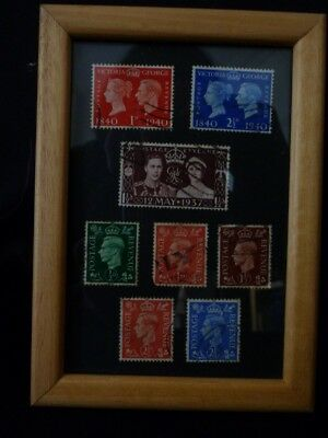 George VI 8 x various old postage stamps framed picture