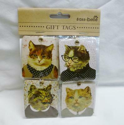 Beautiful Set Of 8 Sass& Belle From London Vintage Look Boy & Girl Cat Gift Tags