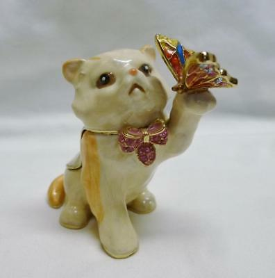 Pretty Enameled & Jeweled Cat Trinket Box With Butterfly & Closure Magnets.