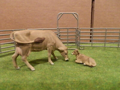 custom Breyer Stablemate sized 1/32 Brown Swiss cow calf pair Britains Marx