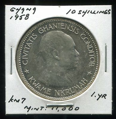 ** Ghana 1958 , 10 Shillings Silver....one Yr....low Minted 11K.**