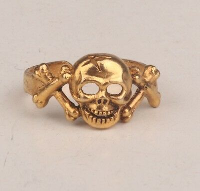 Brass Gilded Unique Skull Statue Ring Collection Gift Wedding Ring   T1/2