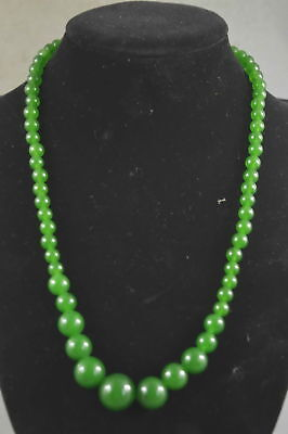 China Collectable Handwork Jade Carve Naturasl texture Bead Woman Old Necklace