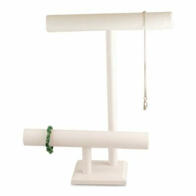 """White Leatherette 16""""H Double T-Bar Necklace Bracelet Display Stand"""