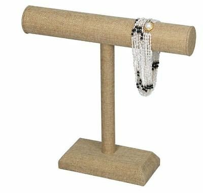 """Burlap Linen 12""""H Single T-Bar Necklace Display Stand"""