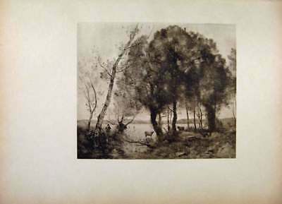 Original Old Antique Print French Art The Lake By Corot Fine Art
