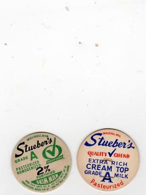 Lot Of 2 Different Stuebers Dairy Wausau Wi  Milk Bottle Caps Wisconsin