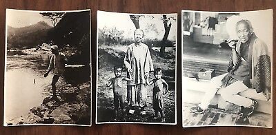 3 X China Old Photo Chinese Old Woman With Children Woman Smocking Fishing !!