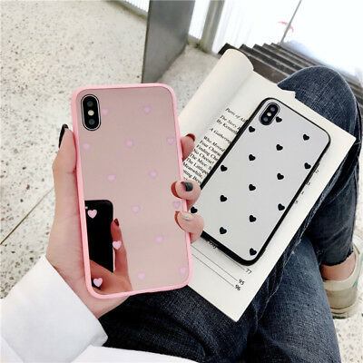 Pink Black Mirror Back Heart Bumper Case Protective Cover For iPhone Xs Max XR X