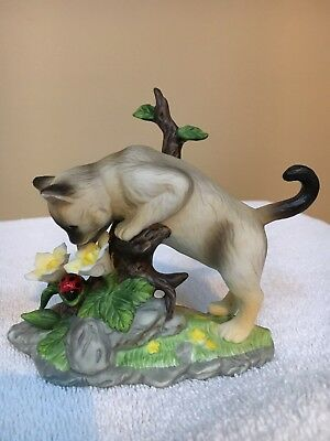 """CURIOUS CATS Siamese Kitten  """"Out On a Limb"""" Porcelain Bisque Figurine"""