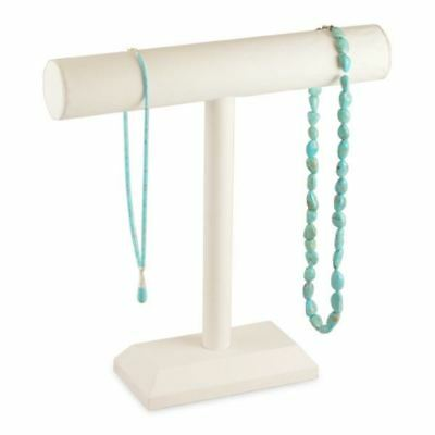 """White Leatherette 12""""H Single T-Bar Necklace Display Stand"""