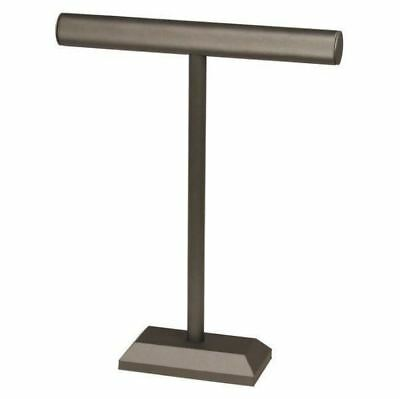 """Steel Gray Leatherette 18""""H Single T-Bar Necklace Display Stand"""