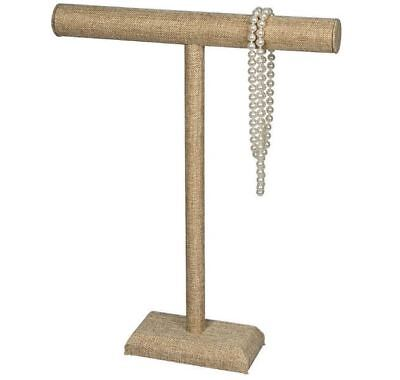 """Burlap Linen 18""""H Single T-Bar Necklace Display Stand"""