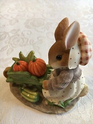 "My Blushing Bunnies ""Autumn Harvests Love & Blessings "" 1997 Wheelbarrow Rabbit"