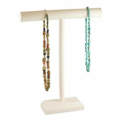 """White Leatherette 18""""H Single T-Bar Necklace Display Stand"""