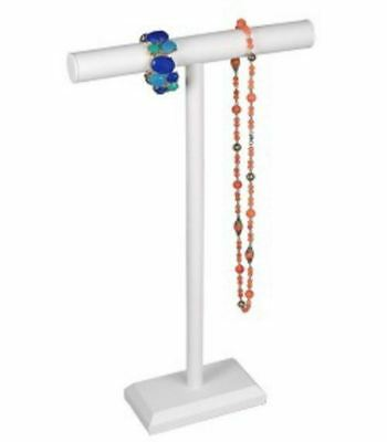 """White Leatherette 24""""H Single T-Bar Necklace Display Stand"""
