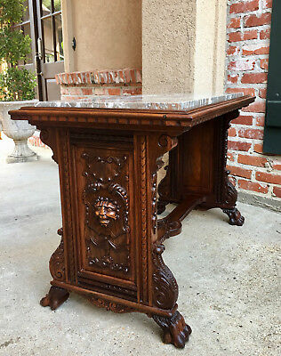 Antique French carved Walnut Side Table Renaissance Paw Feet Marble Angel Gothic
