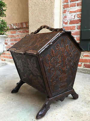 Antique French Carved Oak Black Forest Box Stand Sheet Music Magazine Bookcase