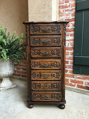 Tall Antique French Carved Oak Chest of Drawers Semainier Commode Lingerie
