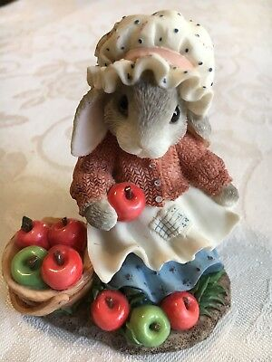 "1997 My Blushing Bunnies ""Bountiful Blessings"" Rabbit Apple Basket"