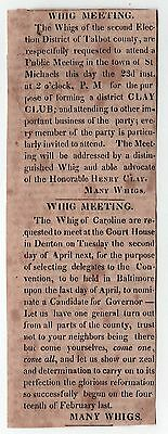 1848 HENRY CLAY CLUB Denton Maryland SAINT MICHAELS Political CLIPPING Whig
