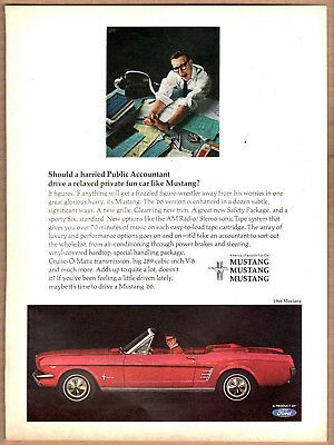 1966 Ford Mustang Convertible Ad (Red) Print Ad