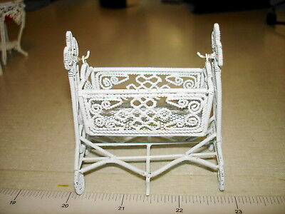 Dollhouse Miniatures 1:12 - White Wire BABY SWING CRADLE