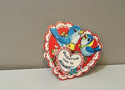 Vtg Valentine Card Blue Bird Love Birds Mother to Mommy 60's Unused