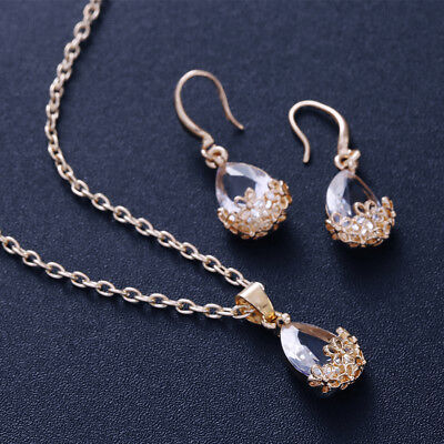 18k Gold Bridal Bridesmaid Necklace+Earring Jewellery Set Wedding Jewelry Sliver