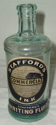 MINT & CRUDE 1880s AQUA STAFFORD'S INK MASTER Embossed with LABELS! Bubbles etc