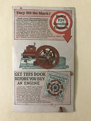 Postcard Sales Brochure Bull's Eye Bullseye Jacobson Hit Miss Gasoline Engine