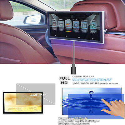 """11.6"""" HD 1080P Android 6.0 WIFI FM OBD Headrest Rear Seat Monitors Touch Screen"""