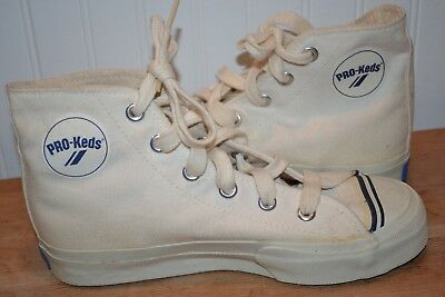 Vintage PRO KEDS USA Natural Canvas High Hi Top Sneakers Shoes 4.5M (Never Worn)