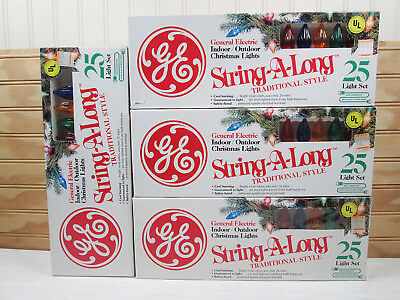 Vtg Lot Of 4 GE String A Long Christmas Lights 100 Indoor Outdoor New NOS Box