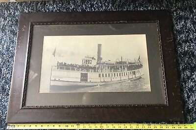 Antique LARGE Framed Photo Of Steamship Steam Ship Boat Monticello Puget Sound