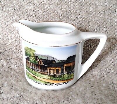 Home of President Calvin Coolidge, Plymouth VT -Vintage Souvenir Ceramic Pitcher