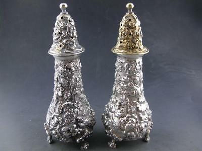pr Sterling STIEFF Salt & Pepper Shakers STIEFF ROSE Repousse floral